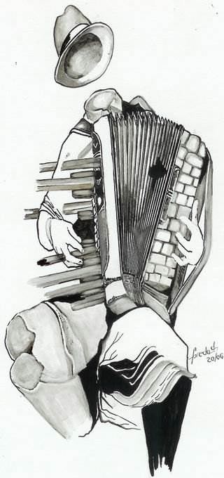 """,,OLTENEASCĂ"""" tuş,peniţă pe carton 30 / 21  cm 2006 de FLORIN PREDA DOCHINOIU"""