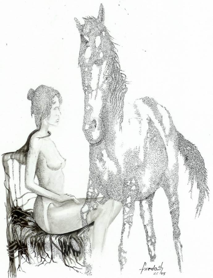 """,,Altă dorinţă """"din ciclul > tuş pe carton 29 / 21 cm 2005 de Florin Preda Dochinoiu"""