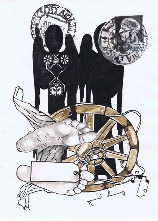 """,,Sacrament"""" tuş,sepia,peniţă pe hârtie cretată 29,5 / 20,9  cm 2012 de Florin Preda Dochinoiu"""