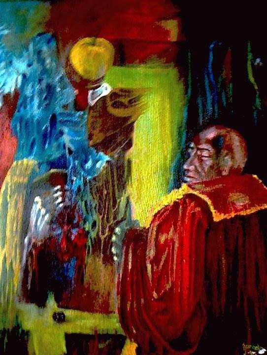 """,,Împărăţia mărului"""" ulei pe pânză colecţie particulară de Florin Preda Dochinoiu"""
