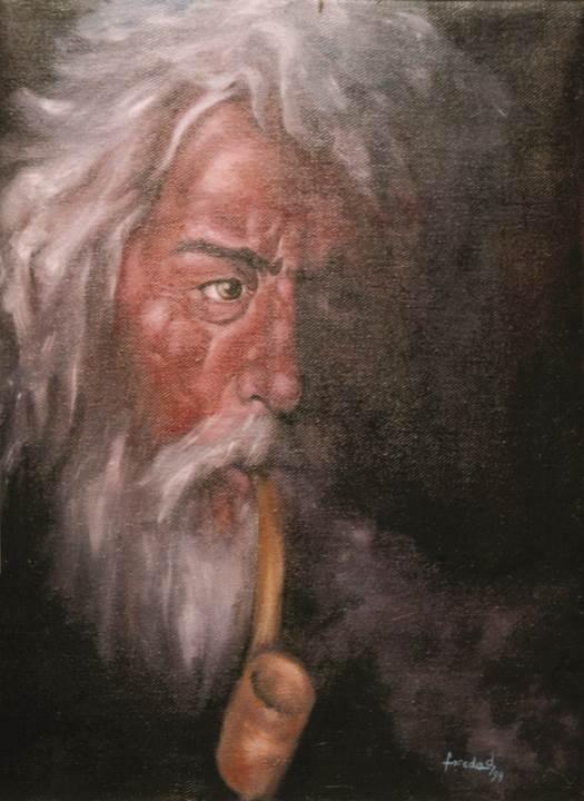 """,,Clopotar cu pipă"""" ulei pe pânză 1999 de Florin Preda Dochinoiu"""