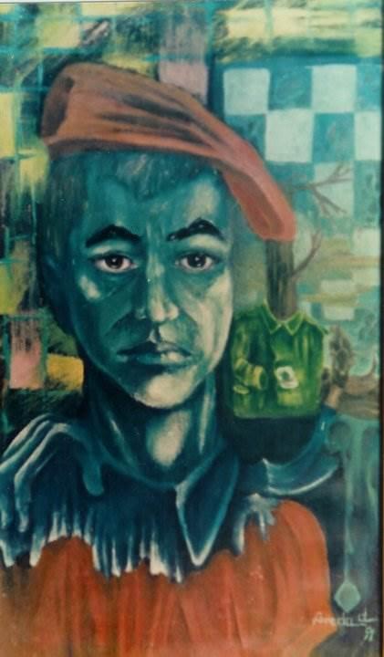 Autoportret( în care arăt aşa cum visez ) Florin Preda-Dochinoiu ulei pe pânză 54 / 29 cm 1991 Colecţie particulară necunoscută